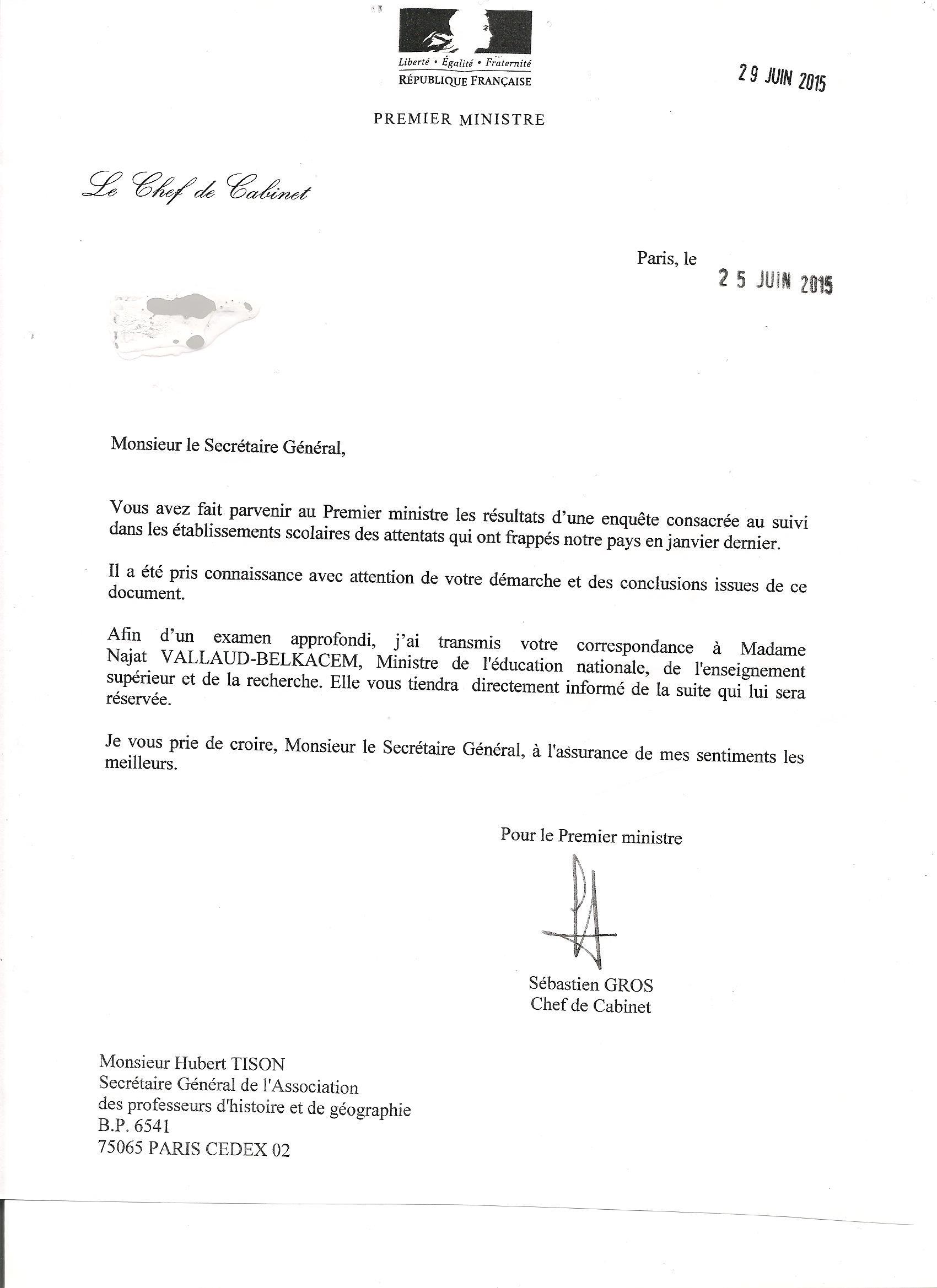 Lettre du cabinet du premier ministre l 39 aphg association des professeurs d 39 histoire et de - Chef de cabinet du premier ministre ...